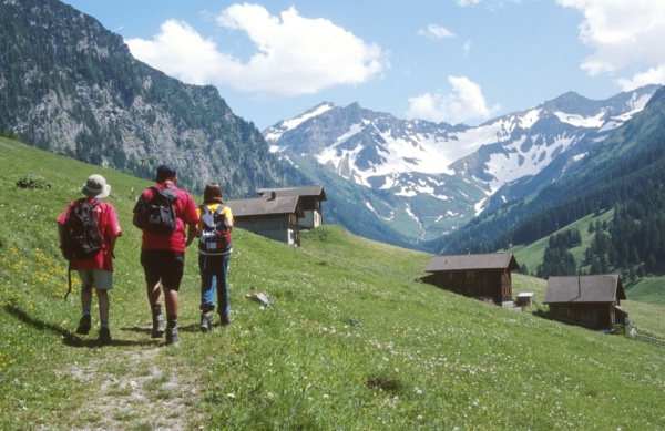 Hikers in Steg, Liechtenstein